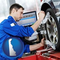 delaware map icon and a mechanic adjusting a wheel alignment machine clamp