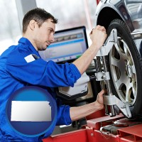 kansas map icon and a mechanic adjusting a wheel alignment machine clamp