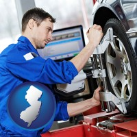 new-jersey map icon and a mechanic adjusting a wheel alignment machine clamp