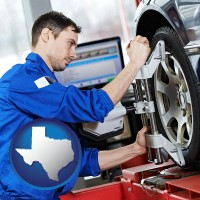 texas map icon and a mechanic adjusting a wheel alignment machine clamp